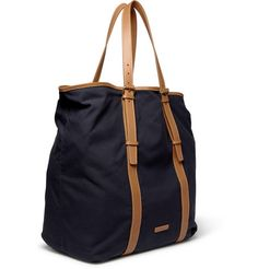 Kenver leather-trimmed canvas tote bag | Paul Smith Shoes & Accessories