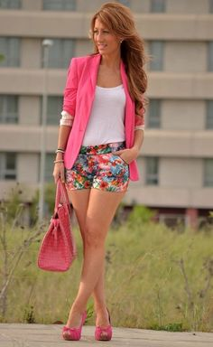 Zara Blazer, flower shorts, pink heels  All i need is flower shorts!
