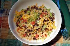 Black Bean Pasta Bowl (Easy) (Meatless Monday)