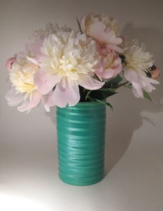 Green Ceramic Vase  Turquoise by HazelRoberts on Etsy, $29.00 Peonies Green Pink
