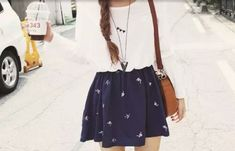 *(Cute outfit (: Teen fashion ☮) Nautical Circle Skirt and long sleeve tee. Cute Fashion, Look Fashion, Teen Fashion, Fashion Outfits, Dress Fashion, Fashion Clothes, Spring Fashion, Fashion Beauty, Korean Fashion