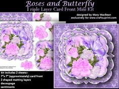 "Roses and Butterfly Triple Layer Card Front Mini Kit on Craftsuprint designed by Mary MacBean - Lovely square card front with pink and white roses and a butterfly. The front has 2 layers of mats as well as decoupage, giving it added dimension. There are 2 sheets which include the 7"" x 7"" card front, 2 matting layers and decoupage. There is also a ""Just for You"" sentiment or a blank tag for your own message making this card suitable for many occasions.  - Now available for download!"