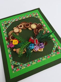 Christmas Paper Cut Handmade Card Quilled Holiday Homemade