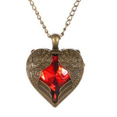 Antique Finished Red Heart with Wings Pendant Necklace