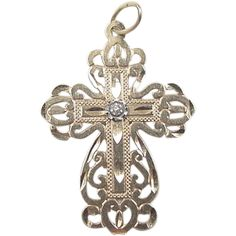 Vintage 14k Gold Diamond Cross Charm / Pendant