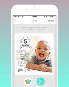 SNEAK PEEK! Once your baby or pregnancy milestone photo is perfect easily share with family and friends OR print from our in app print shop!  #littlenugget #comingsoon