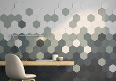 Tridimensional ceramic tiles by will be presented during… Triangle Wall, Pallet Walls, Deco Addict, 3d Wall Panels, Hexagon Tiles, Creative Walls, Rustic Walls, Geometric Wall, Tile Patterns