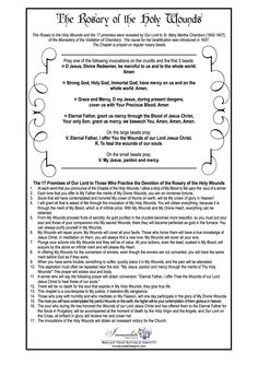 Prayer Card for the Chaplet of the Holy Wounds. Prayed on a regular Rosary. 7 Sorrows Of Mary, Universal Prayer, Rosary Prayer, Mary And Martha, Peace Be Upon Him, Prayer Cards, Catholic, Prayers, Religion