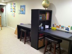 Double-desk from Ikea – Kids Zone USA I would love to do this for the boys when … - Arbeitszimmer Zuhause Ikea Kids, Kids Office, Office Playroom, Double Desk, Hangout Room, Study Room Design, Study Rooms, Teen Study Room, Kids Study