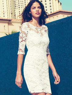 White Half Sleeve Floral Crochet Lace Dress - Fashion Clothing, Latest Street Fashion At Abaday.com