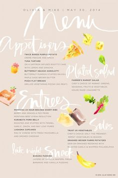 Watercolor + Handlettered Menu by Julie Song Ink