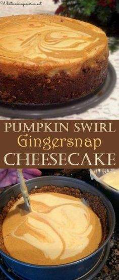 Vanilla and Pumpkin cheesecake flavors swirled together with a gingersnap crust cheesecake recipe Pumpkin Swirl Gingersnap Cheesecake Recipe Best Pumpkin Cheesecake Recipe, Best Cheesecake, Pumpkin Recipes, Pumpkin Cheesecake Gingersnap Crust, Cheesecake Cupcakes, Punkin Cheesecake, Pumpkin Cheesecake Snickerdoodles, Cheesecake Factory Pumpkin Cheesecake, Gingerbread Cheesecake