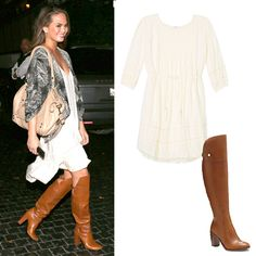 Play With Proportions: Skirt and Boot Pairings to Try - Knee-Grazing Dress + Tall Riding Boots from #InStyle