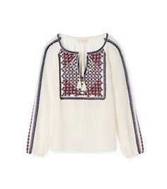 Tory Burch Embroidered Silk Peasant Top