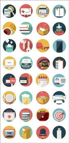 ビジネスアイコン32種類 フラットデザインな名刺作成などに役立つビジネス&オフィスアイコンセット