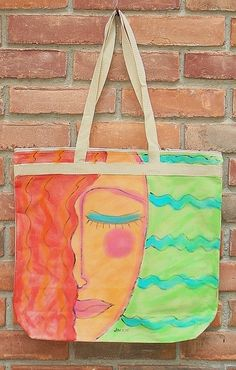 Hand Painted Tote Bag Laptop Bag Beach Bag by jackieludtke on Etsy, $35.00