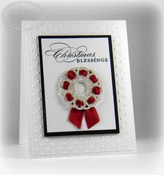 Guest Stamper, Beth Beard made this beautiful wreath card by threading Cherry Cobbler seam binding ribbon through the Delicate Doilies Sizzlits die.  Posted by Mary Fish at Stampin' Pretty