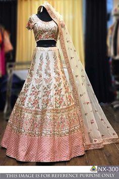 Lehenga Fabric : Nylon Mono Net and Bangalory Silk. Colour : As per image and may be change due to Flash light while Photoshoot. Colour as per image, may be due to lighting, flash Light while photo shoot. Pakistani Lehenga, Indian Bridal Lehenga, Indian Bridal Outfits, Pakistani Outfits, Indian Dresses, Indian Clothes, Bridal Dresses, Bridal Sarees, Indian Sarees