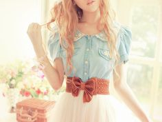 Cute & girly: Denim shirt, pink skirt & a brown bow belt. Description from pinterest.com. I searched for this on bing.com/images