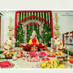 ❤💚Throw back to this Varalakshmi Vratham Decor we did for client Gayatri Reddy❤💚 . Housewarming Decorations, Diy Diwali Decorations, Backdrop Decorations, Festival Decorations, Flower Decorations, Background Decoration, Backdrops, Wedding Decorations, Ganapati Decoration