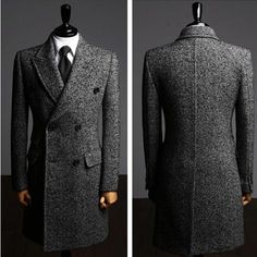 Mens Cashmere Double Breasted Long Mens Topcoat