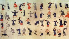 """Reproduction of the Daoyin Tu (""""guiding and pulling exercises"""") silk scrollFound in the tomb of Mawangdui. China. Dated 168 BCE or before"""