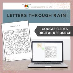 """This digitally interactive resource is designed for use with Google Slides. This resource contains 5 slides in total. Answer sheets are included.The student must find the letter specified in the instruction behind the """"rain"""", and drag the green highlight square to the correct answer."""