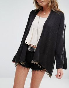 Kiss The Sky   Kiss The Sky Lightweight Festival Cardigan With Coin Trim at ASOS