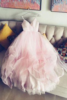 Pink Evening Dresses, Short Evening Dresses, simple spaghetti straps v neck tulle pink prom/evening dress, pink tulle bridal dress