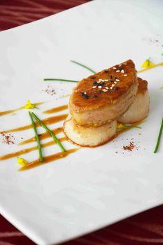 seared foie gras, scallops, abalone sauce