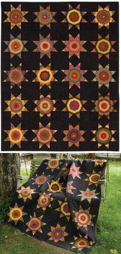 Star quilt on black background