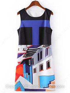 Black Round Neck Sleeveless Buliding Print Dress -$23.49