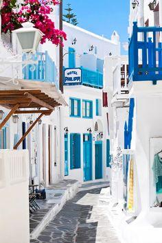 Mykonos Town, Adventure, Greece, Streets Blue, White, Greek style