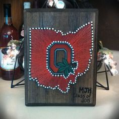 Ohio State String Art on stained wood! Thee Ohio State, Buckeyes, Ohio String Art, State String Art