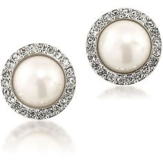 Carolee The Plaza White Faux Pearl Button Earrings ($40) ❤ liked on Polyvore featuring jewelry, earrings, silver, fake earrings, plastic jewelry, plastic post earrings, fake jewelry and white plastic earrings