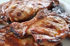 A great marinade for grilled pork chops. From Brittany's Pantry - just a few ingredients lead to amazing flavor! Pork Rib Recipes, Traeger Recipes, Grilled Chicken Recipes, Grilled Meat, Grilling Recipes, Meat Recipes, Cooking Recipes, Grilling Tips, Marinated Grilled Pork Chops