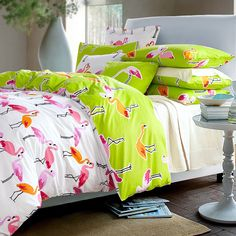 Flamingos bedclothes quilt cover cotton bed sheets comforter bedding sets queen size king size comforter set anime bedding