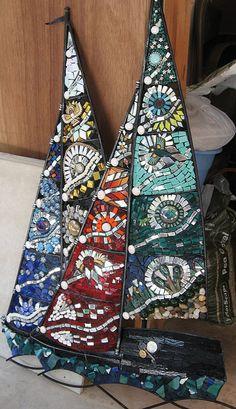 beautiful sailboat mosaic by Katie Waller