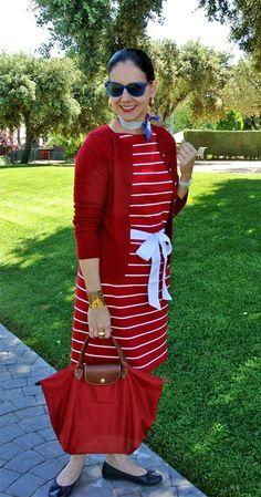 Susana Fernandez | A Key to the Armoire <stripes + red + neckerchief +silk scarf + Longchamp + Le Pliage + Ralph Lauren + preppy style + vacation style + Cole Haan + blue sunglasses>