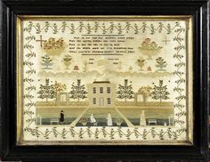 By Ann Chapman, dated July 1839, A similar sampler by Mary Pether also dated1839 is in the V collection.