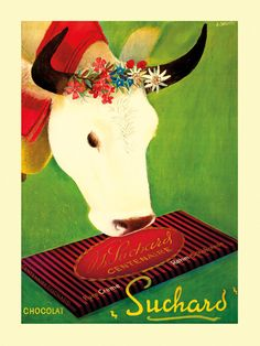 Chocolate Candy Cow Farm Suchard Milk Chocolat by HeritagePosters