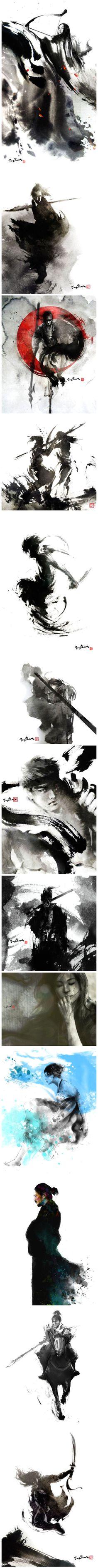 水墨武侠 Illustrations, Illustration Art, King Tattoos, Tinta China, Shadow Art, Japanese Characters, Samurai Art, Epic Art, Zen Art