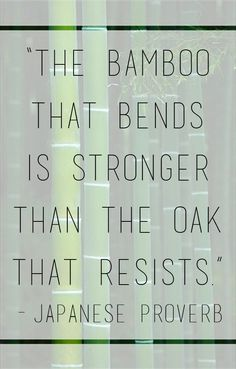 """""""The bamboo that bends is stronger than the oak that resists."""" - Japanese Proverb"""