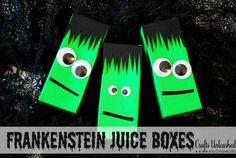 Frankenstein Juice Boxes #Halloween