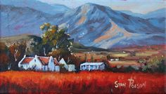 Stan is self-taught and paints landscapes with a South African touch; he sees the humility, vibrancy and innocence in God's creation and portrays that in his simplistic and colourful pieces. Luxury Landscaping, Landscaping Jobs, Landscaping Software, Landscape Art, Landscape Paintings, Landscape Design, Oil Paintings, Landscapes, Building Painting
