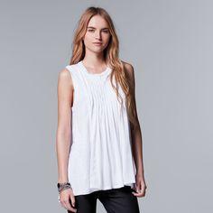 Women's Simply Vera Vera Wang Pintuck Flowy Tunic, Size: Medium, White