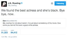 When she had no time for critics of Noma Dumezweni's role in Cursed Child. | 19 Times J.K. Rowling's Twitter Was A Gift To 2016