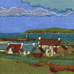 """Port Logan""   Needle felted Harris Tweed painting  by textile artist Jane Jackson. Image available as a greetings card & giclee print in 2 sizes from www.brightseedtextiles.com. FREE UK postage & packing."