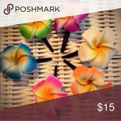 last 1 SALE! Set of 6 mini flowers Handmade in Bali on gorgeous slide in clips, beautiful airbrushed foam plumeria flowers for a special island girl style! Handmade Accessories
