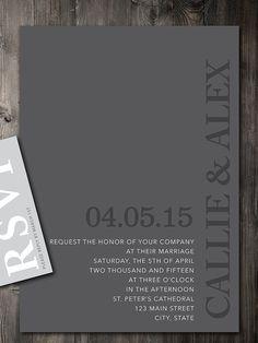 Modern gray wedding invitation printable